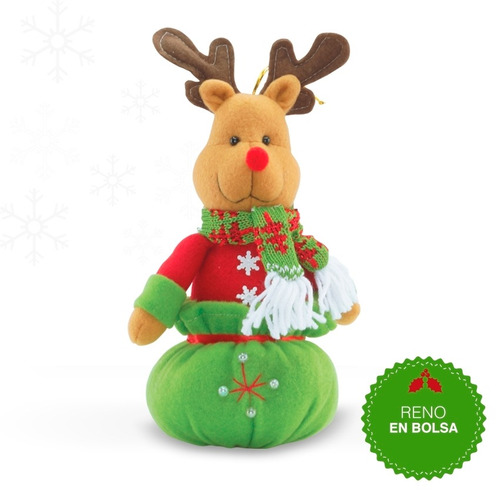 muñeco decoracion en forma de reno rudolph en bolsa-caqui