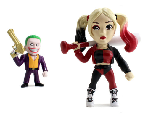 muñeco figura metálica colec the joker y harley 11 cm  orig