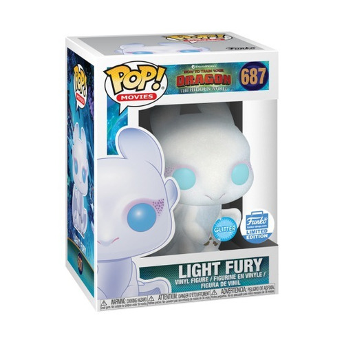 muñeco funko pop 687 light fury como entrenar a tu dragón