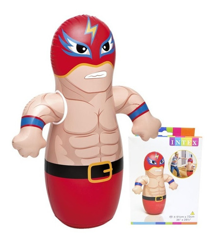 muñeco inflable punching bag luchador para niños intex