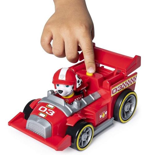 muñeco paw patrol marshall race figura y vehiculo con sonido