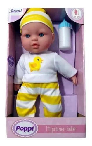 muñeco poppi mi primer bebe c/sonido y biberon 27001 full