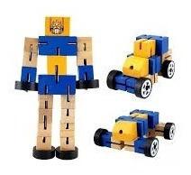 muñeco robot de madera articulado original transformers