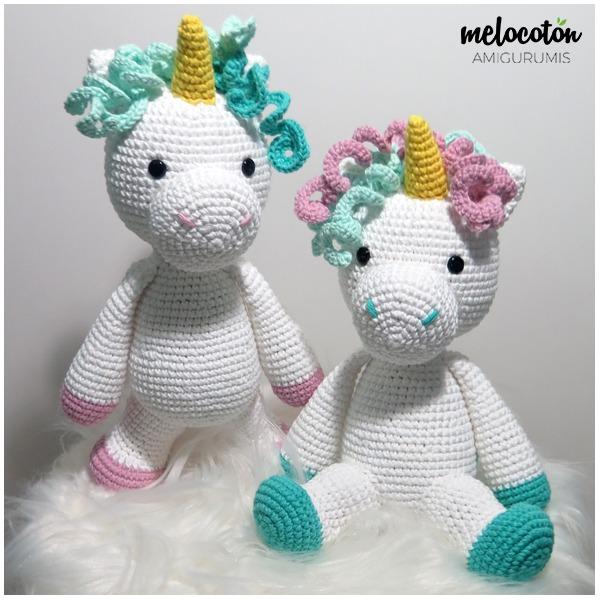 Unicórnio de crochê, ideal para decoração. Feito de fio 100 ... | 600x600