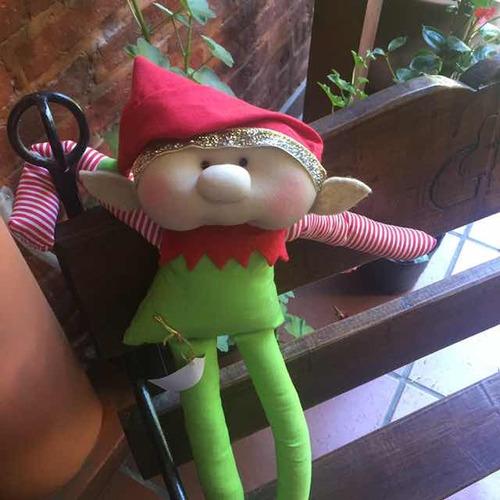 muñecos papá noel o mamá noel y duendes soft para decorar