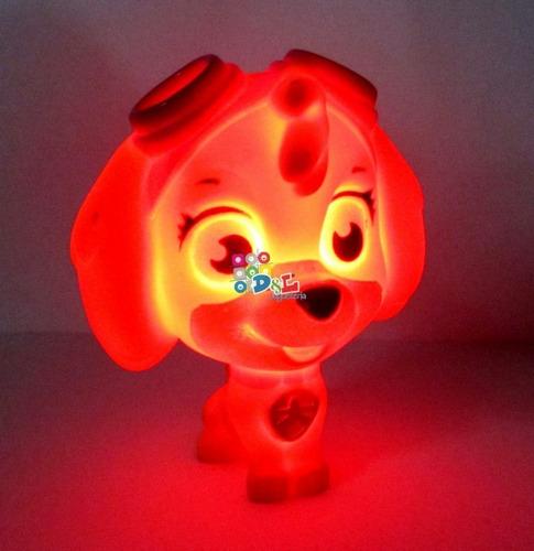 muñecos paw patrol irrompibles goma luz brillan + cartas