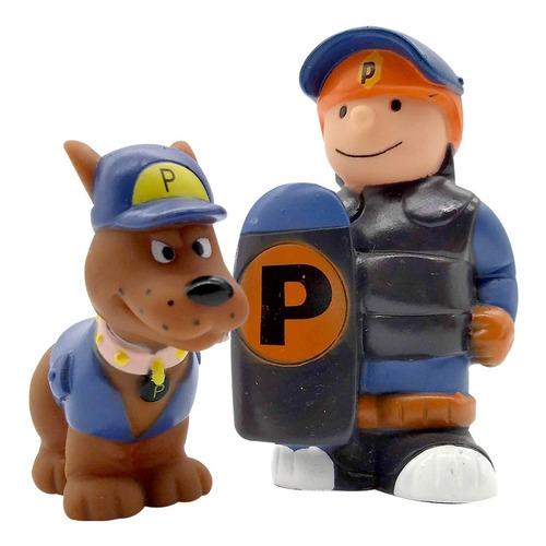 muñecos policias y ladrones goma set x8 personajes p bebe