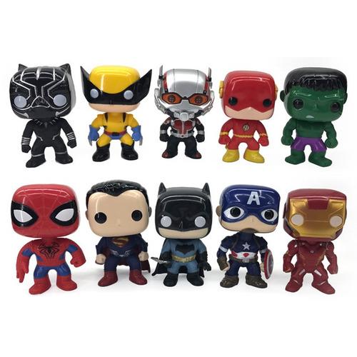 muñecos simil funko pop 10 cm pvc avengers - dc comics envio