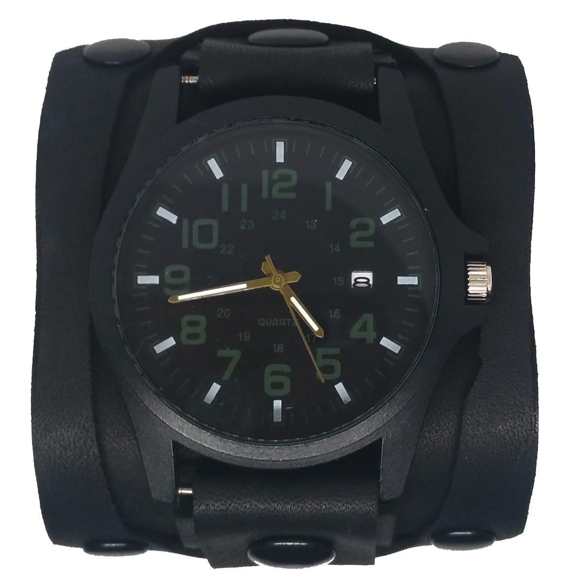b24c50dd22aa muñequera brazalete pulsera de cuero con reloj rock. Cargando zoom.
