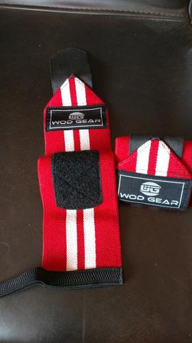 muñequeras elásticas rojo con blanco crossfit gym soporte