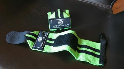 muñequeras elásticas verde fosforescente crossfit gym