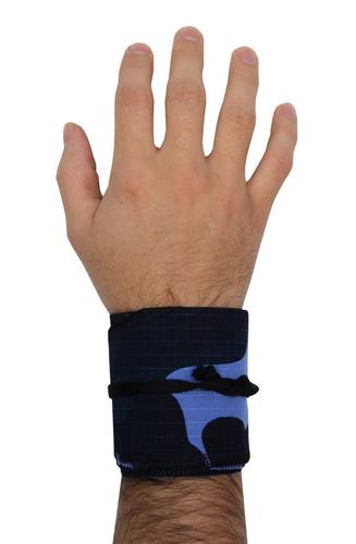 munhequeira crossfit tecido camuflado azul pro trainer vrap