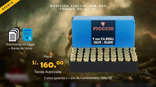 munición de salva fogueo 9mm fiocchi para pistolas de fogueo
