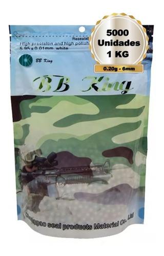 munição airsoft bbs king 0.20g 6mm com 5000 bolinhas