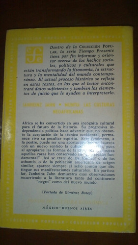 muntu:las culturas neoafricanas. janheinz jahn. envío gratis