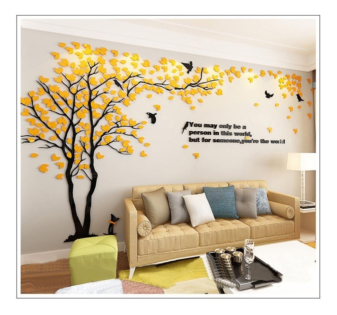 Mural De Arbol Amarillo Decoracion Pared Sala Sisselyan