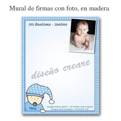 mural de firmas bautismo primer añito con foto bebe nene