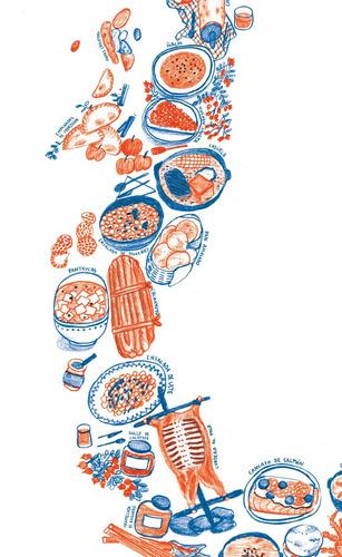 mural decorativo mapa chile gastronómico - lámina mappin