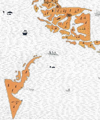 mural decorativo mapa efecto isla - lámina mappin