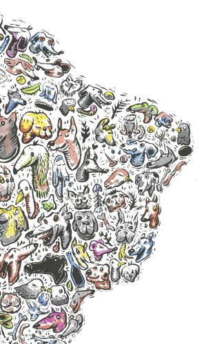 mural decorativo mapa fauna urbana latinoamericana - lámina