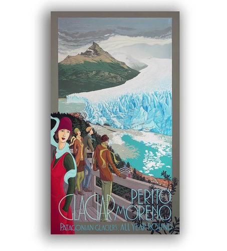 mural decorativo mapa glaciar perito moreno - lámina mappin