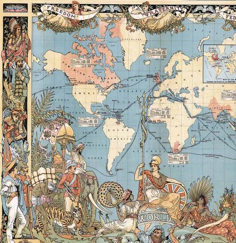 mural decorativo mapa mundi de 1886 - lámina mappin