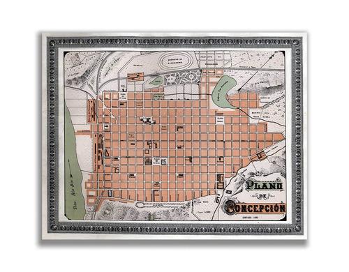 mural decorativo mapa plano de concepción en 1895 - lámina m