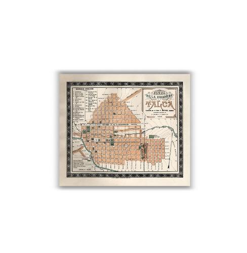 mural decorativo mapa plano de talca en 1895 - lámina mappin