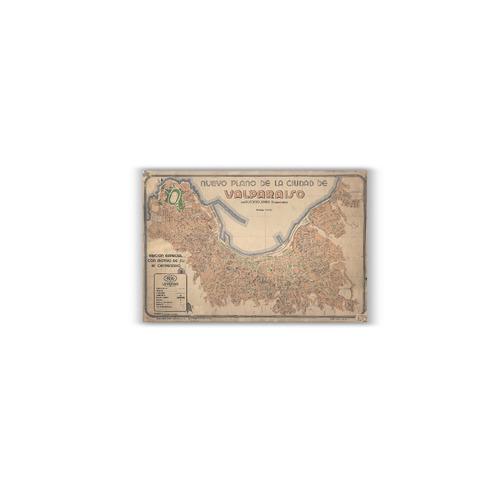 mural decorativo mapa plano de valparaíso en 1936 - lámina m