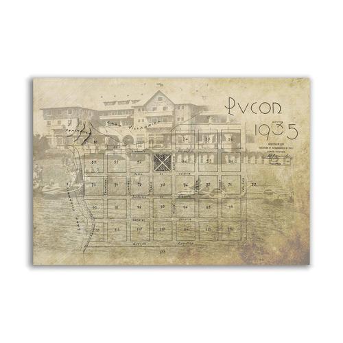 mural decorativo mapa planofoto de pucón 1935 - lámina mappi