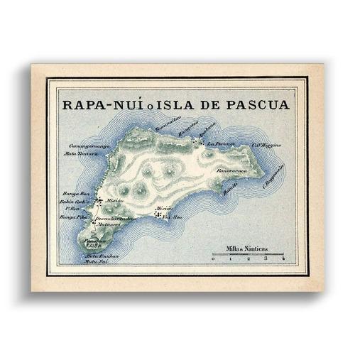 mural decorativo mapa rapa nui en 1903 - lámina mappin