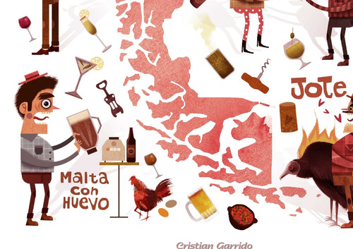 mural decorativo mapa tragos típicos - lámina mappin