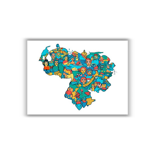 mural decorativo mapa venezuela mágica - lámina mappin