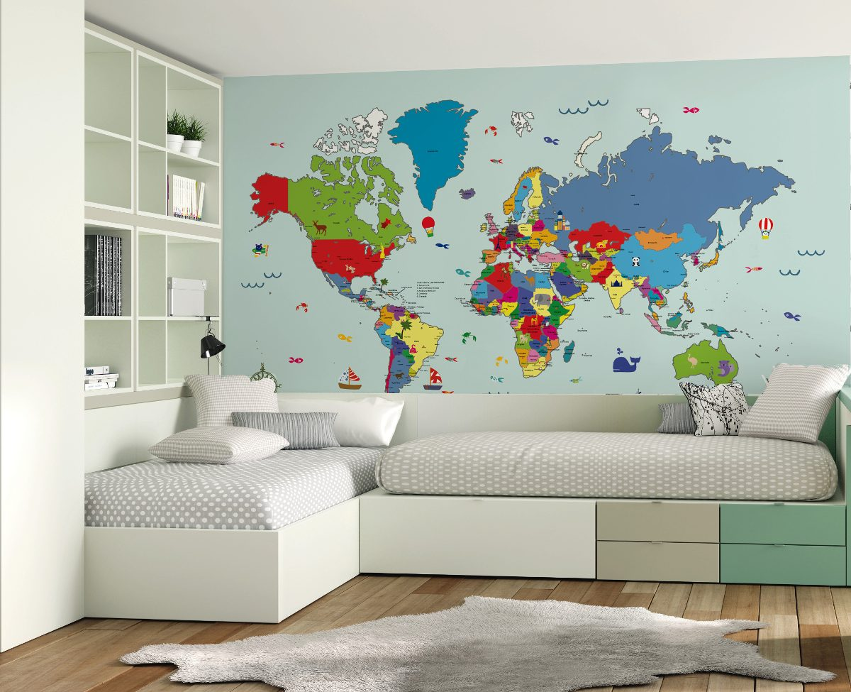 Mural Empapelado Mapamundi X M2- Enamorada Del Muro - $ 504,00 en ...