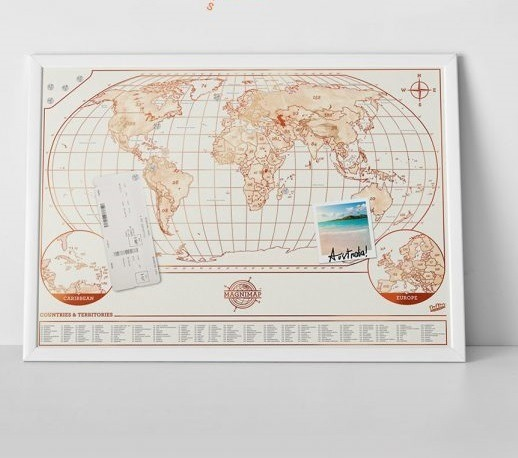 Mural mapa m ndi magn tico com im s marque suas viagens - Mural mapa mundi ...