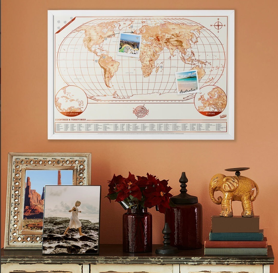 Mural Mapa Mundi Magnético De Viagens - Escreva E Apague - R$ 200,00 ...