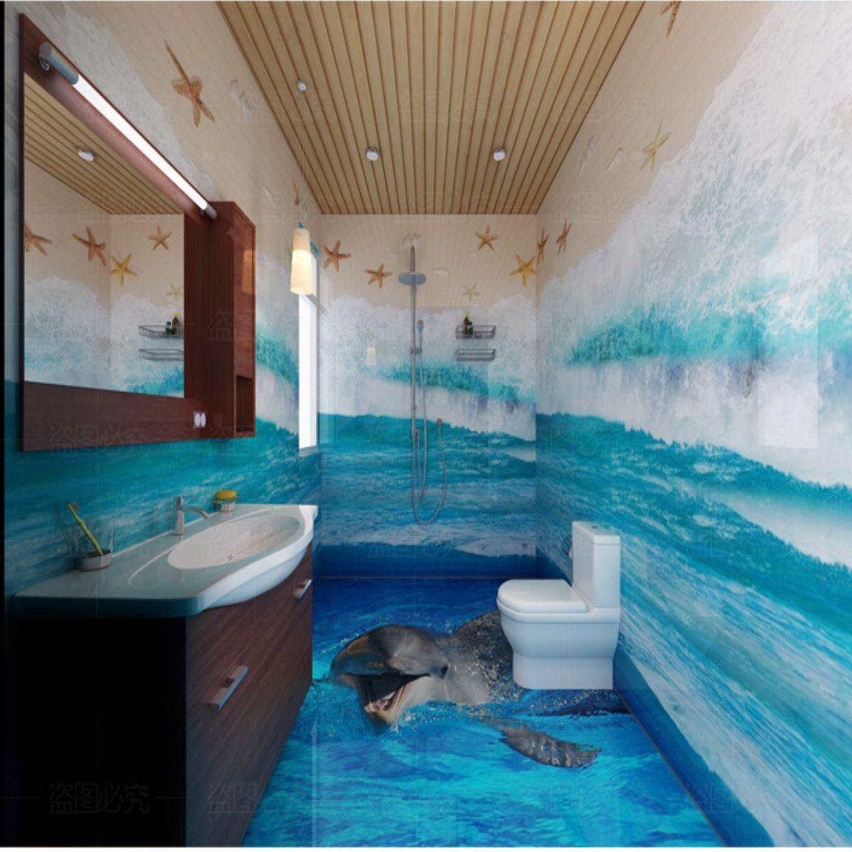 Dise o ba os con mural paisaje casa dise o for Adhesivos para azulejos de bano