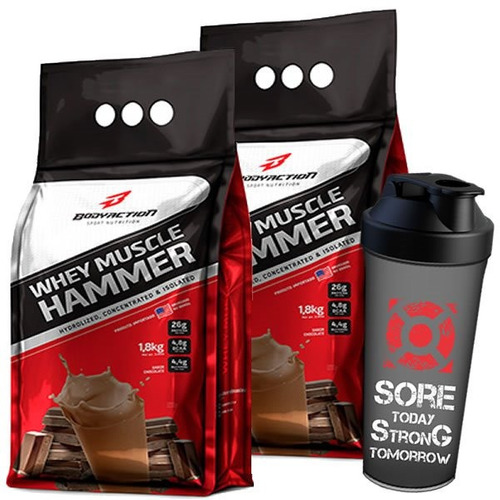 muscle hammer whey isolado + hidrolisado 3.6kg - body action
