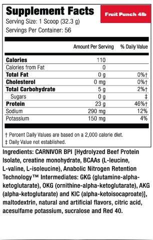 músculo medicamentos carnivor ponche de frutas 4 lb