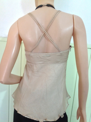 musculosa ayres %100 seda natural nueva (sin etiqueta) beige