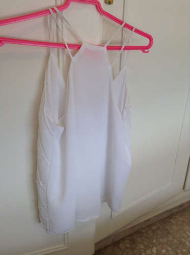 musculosa blusa gasa blanca tramada tiras elegante importada