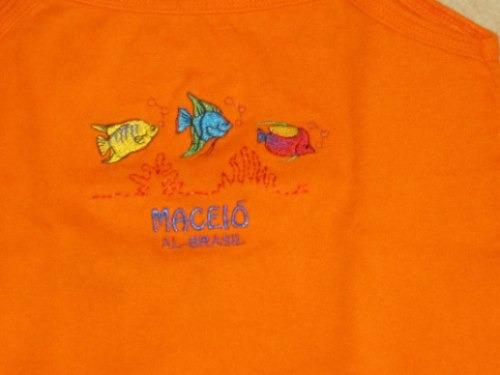 musculosa  corta naranja bordada peces brasilera t:6 años