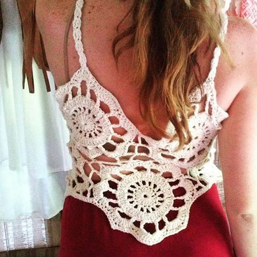 musculosa remera crop top tejido a mano crochet verano
