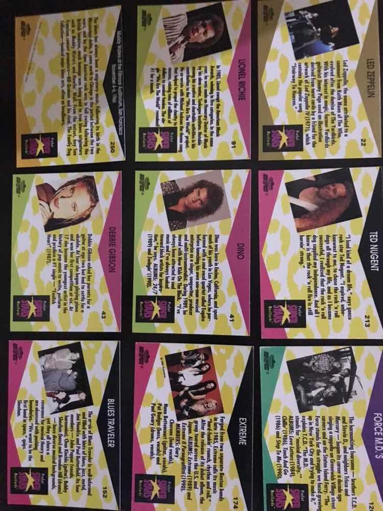 Music Cards Superstars 1992 Lote 18 Tarjetas - $ 120 00