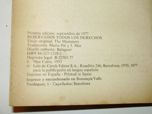 music hall max catto caralt esp 1a. edic 1977