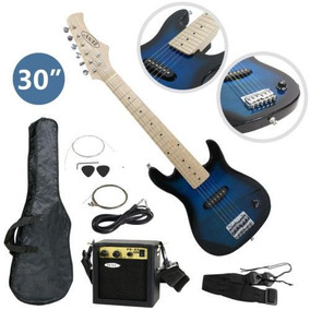 30 Guitarra Eléctrica Azul Paquete Zeny Infantil Nueva-7997