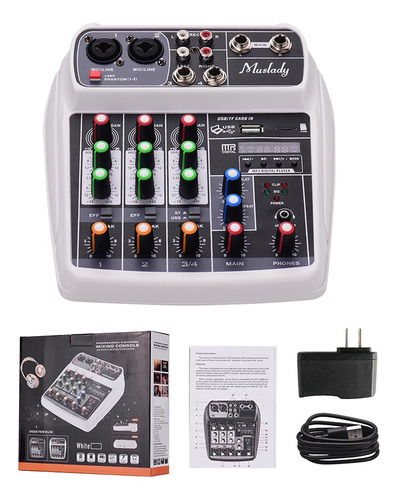 muslady ai-4 tarjeta de sonido compacta consola de mezclas