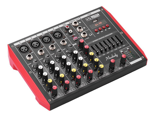muslady d6 - mezclador portátil de 6 canales con ecualizador
