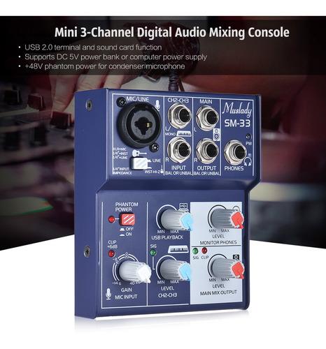 muslady sm-33 mini tarjeta de sonido de 3 canales consola me
