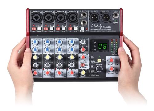 muslady sm-68 - consola de mezcla de tarjeta de sonido portá